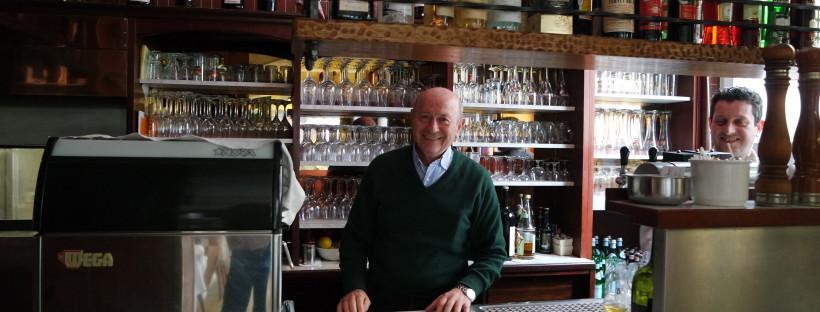 Bruno packt auch heute noch immer überall mit an, im Ristorante Como Lario.